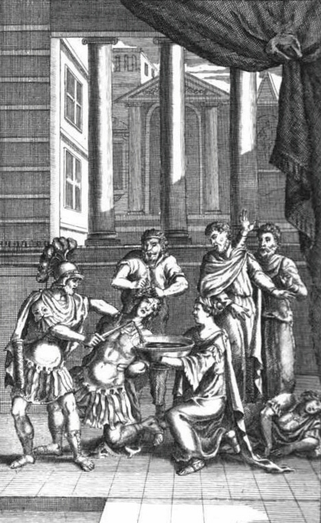 Illustration of the death of Chiron and Demetrius from Act 5, Scene 2; from The Works of Mr. William Shakespeare, edited by Nicholas Rowe (1709)