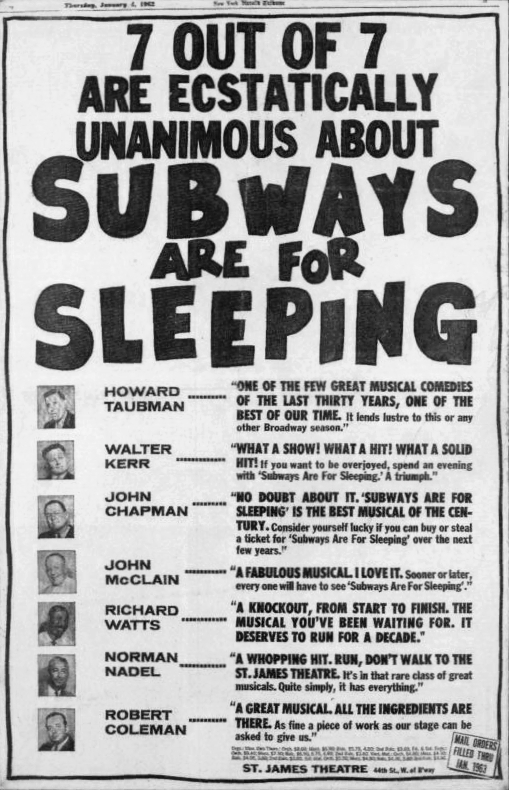 """""""7 out of 7 are ecstatically unanimous about Subways are for Sleeping."""" Howard Taubman: """"One of the few great musical comedies of the last thirty years, one of the best of our time. It lends lustre to this or any other Broadway season."""" Walter Kerr: """"What a show! What a hit! What a solid hit! If you want to be overjoyed, spend an evening with 'Subways are for Sleeping.' A triumph."""" John chapman """"No doubt about it. 'Subways are for Sleeping' is the best musical of the century. Consider yourself lucky if you can buy or steal a ticket for 'Subways are for Sleeping' over the next few years."""" John McClain: """"A fabulous musical. I love it. Sooner or later, everyone will have to see 'Subways are for Sleeping'."""" Richard Watts: """"A knockout, from start to finish. The musical you've been waiting for. It deserves to run for a decade."""" Norman Nadel: """"A whopping hit. Run, don't walk to the St. James Theatre. It's in that rare class of great musicals. Quite simply, it has everything."""" Robert Coleman: """"A great musical All the ingredients are there. As fine a piece of work as our stage can be asked to give us."""""""
